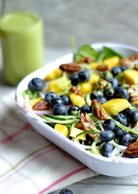 Blueberry and Mango Spinach Salad with Basil Vinaigrette2