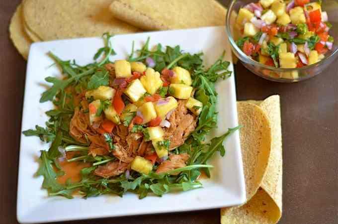Slow Cooker Hawaiian Chicken Tacos with Pineapple Salsa
