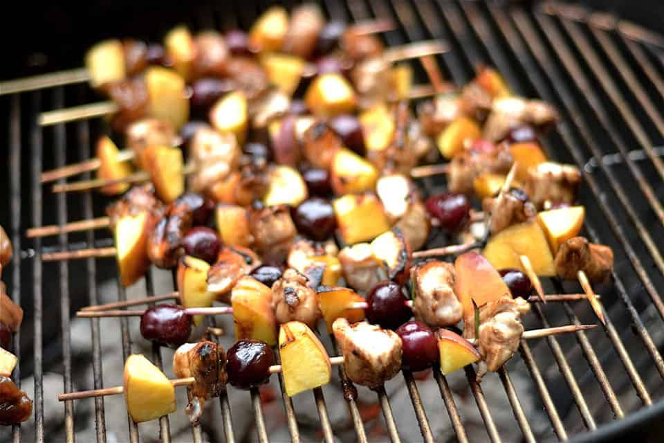 Grilled Balsamic Chicken, Cherry, and Peach Kabobs 3