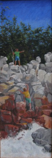 Pastel Painting Kids on Rocks