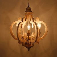 6 Light Wooden Chandelier, Antique White