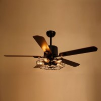 52 Inch Industrial Caged Ceiling Fan with Light and Remote ...