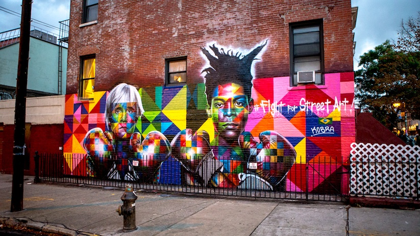 3d Urban New York Mural Wallpaper Streetart Colorful Mural Of Basquiat And Andy Warhol By