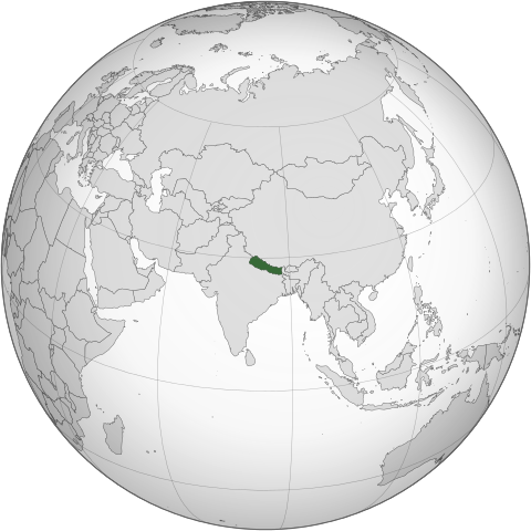 Nepal center of the world map
