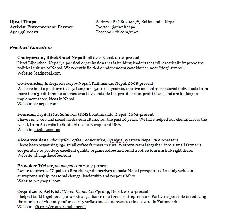 ujwal thapa u0026 39 s resume  of failures