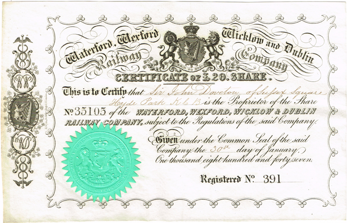 Share certificates, Irish railways and telegraphs at Whyte\u0027s - Company Share Certificates