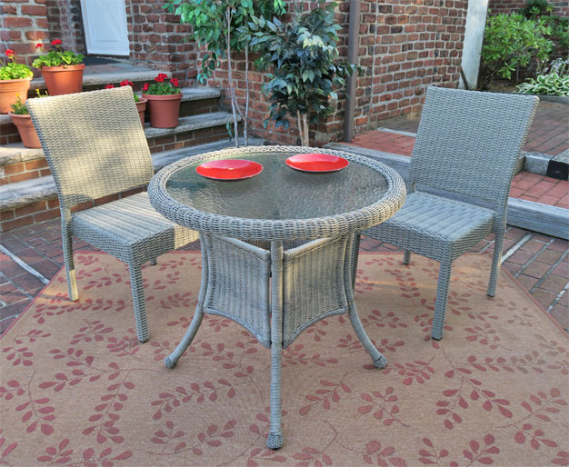 Caribbean Resin Wicker Bistro Dining Set 30quot Round 2 Side
