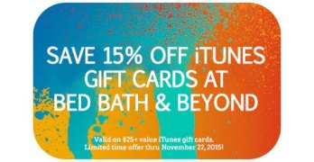 Save 15% Off iTunes Gift Cards at Bed Bath & Beyond + $50 Amazon GC Giveaway #iTunesBBB15