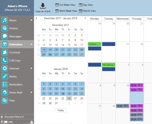 Transfer iPhone Calendars to your computer Win or Mac TouchCopy - calender s