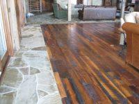 Grandpa's Reclaimed Wood Flooring in a Living Room