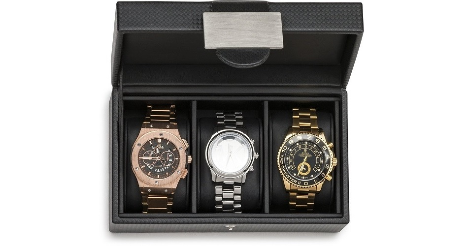 Mens Luxury Watch Box Travel Case With 3 Compartments