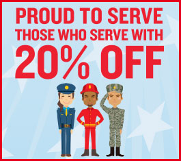 Proud to serve those who serve with 20% off