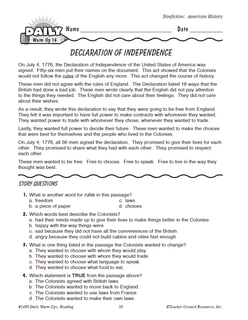 Reference Format Literature Literature Fireye Daily Warm Ups Reading Grade 3