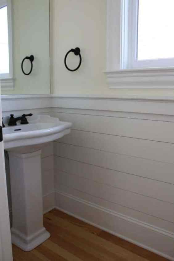 beautiful shiplap walls from cheap plywood. Black Bedroom Furniture Sets. Home Design Ideas