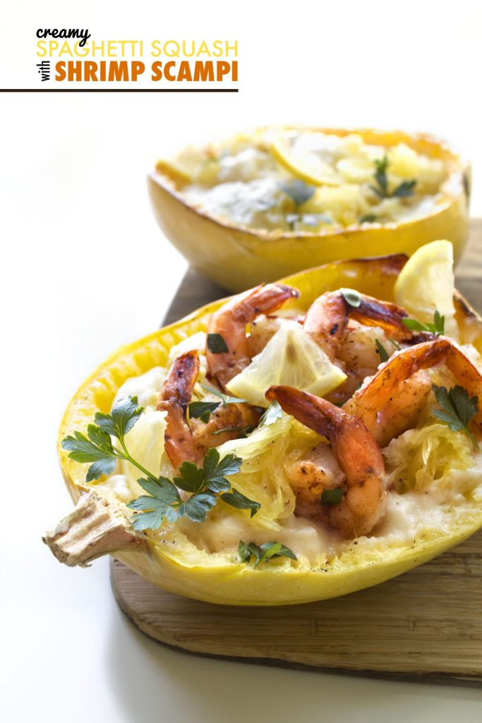 Creamy Spaghetti Squash With Shrimp Scampi | Paleo, Whole30, & Vegan ...