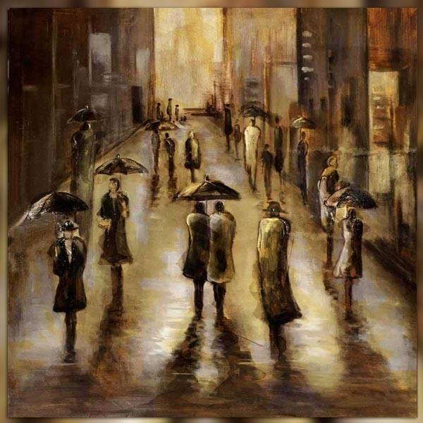 Tableau contemporain pluie sur la ville 101 x 101