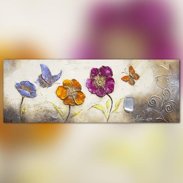 Tableau large fleurs et papillons