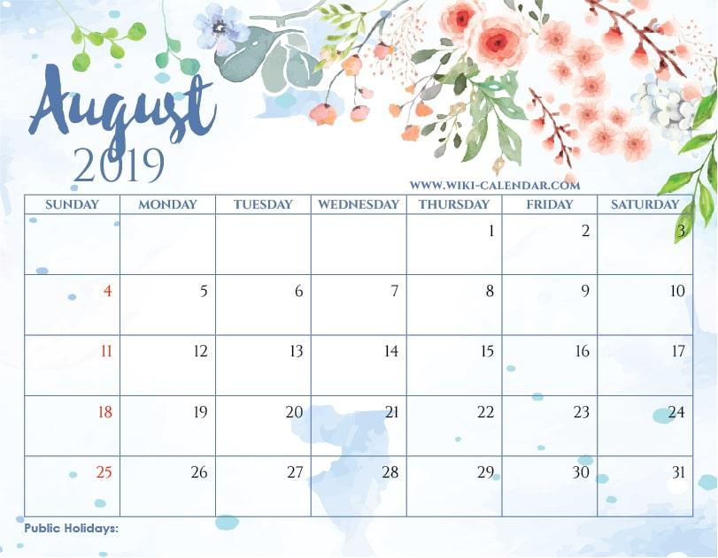 Blank August 2019 Calendar Printable