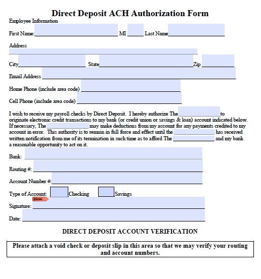What is the purpose of a federal direct deposit form?