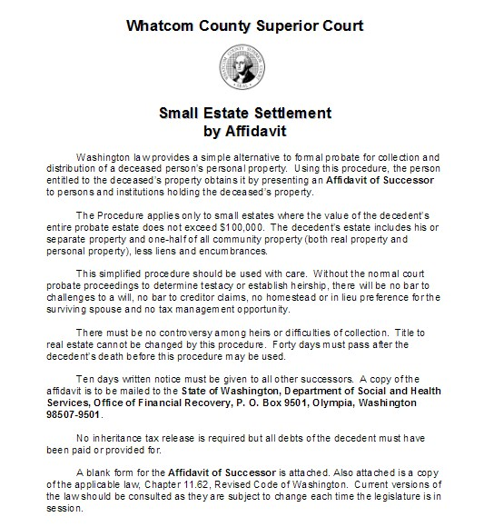 Small Estate Settlement by Affidavit WikiForm - superior service application form