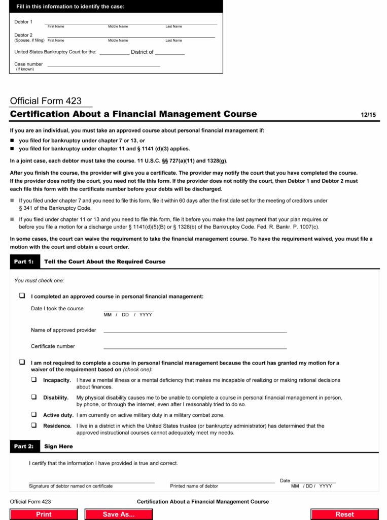 Free Official Form 423, Certification About a Financial Management