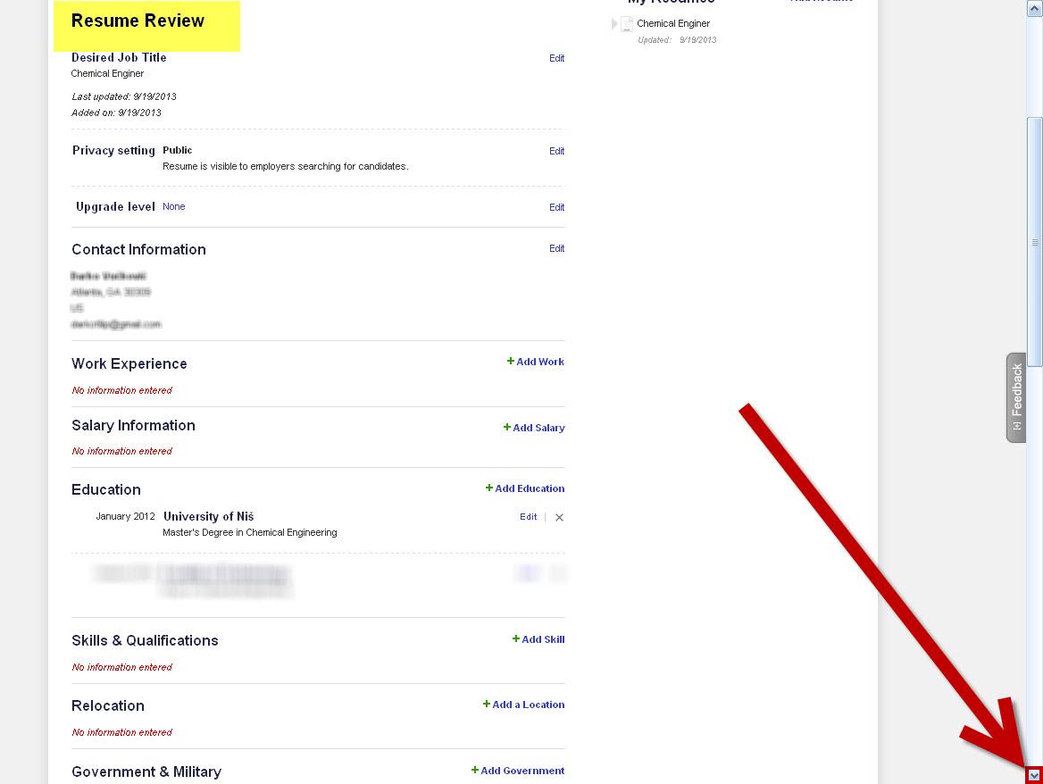 career builder resume 05052017