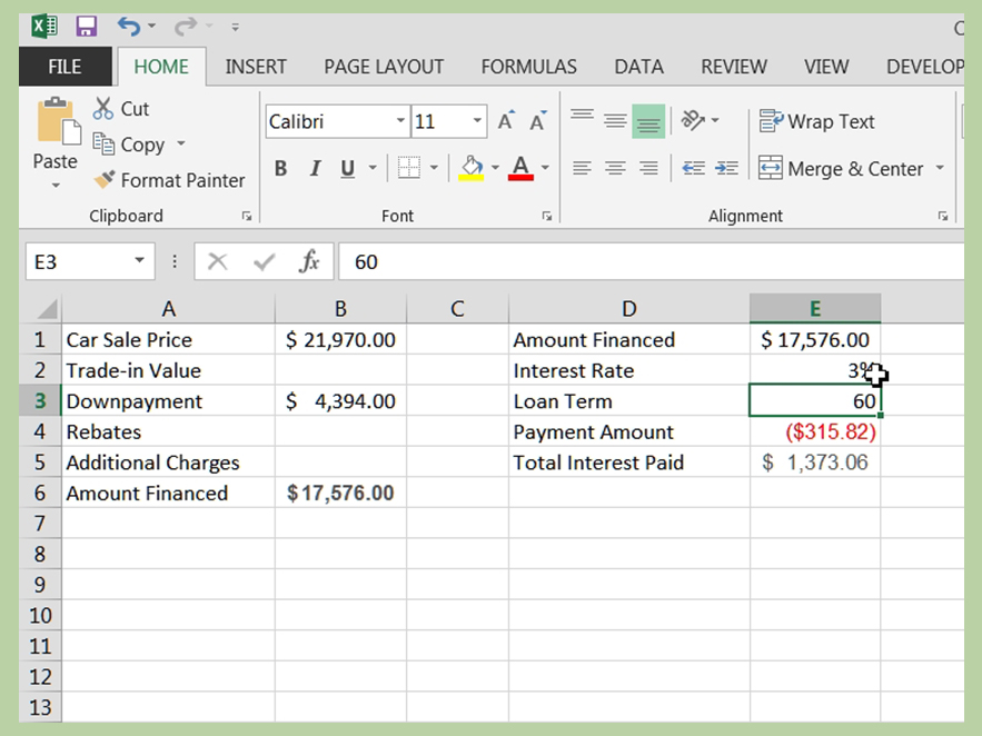 How to Calculate a Car Loan in Excel 10 Steps (with Pictures) - Simple Interest Car Loan Amortization Schedule