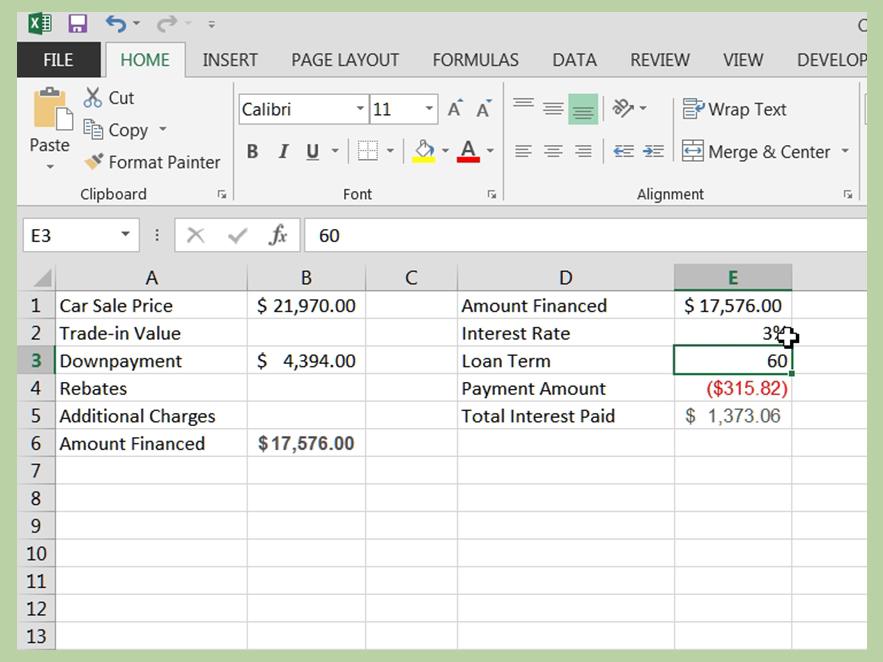 car loan spreadsheet