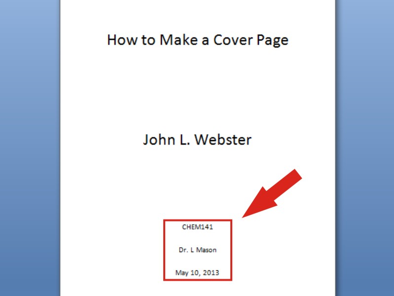 making a cover page