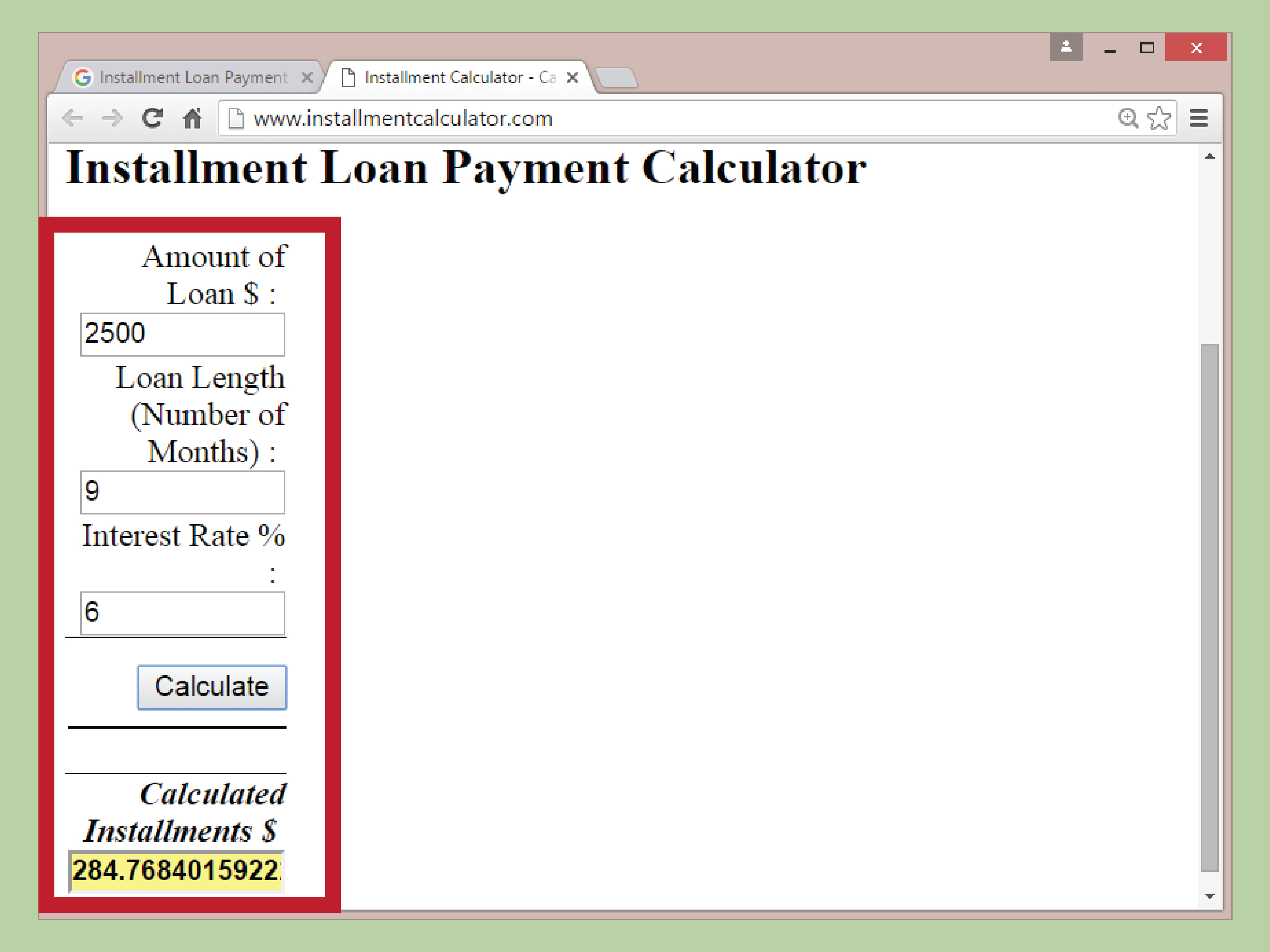 installment loans calculator