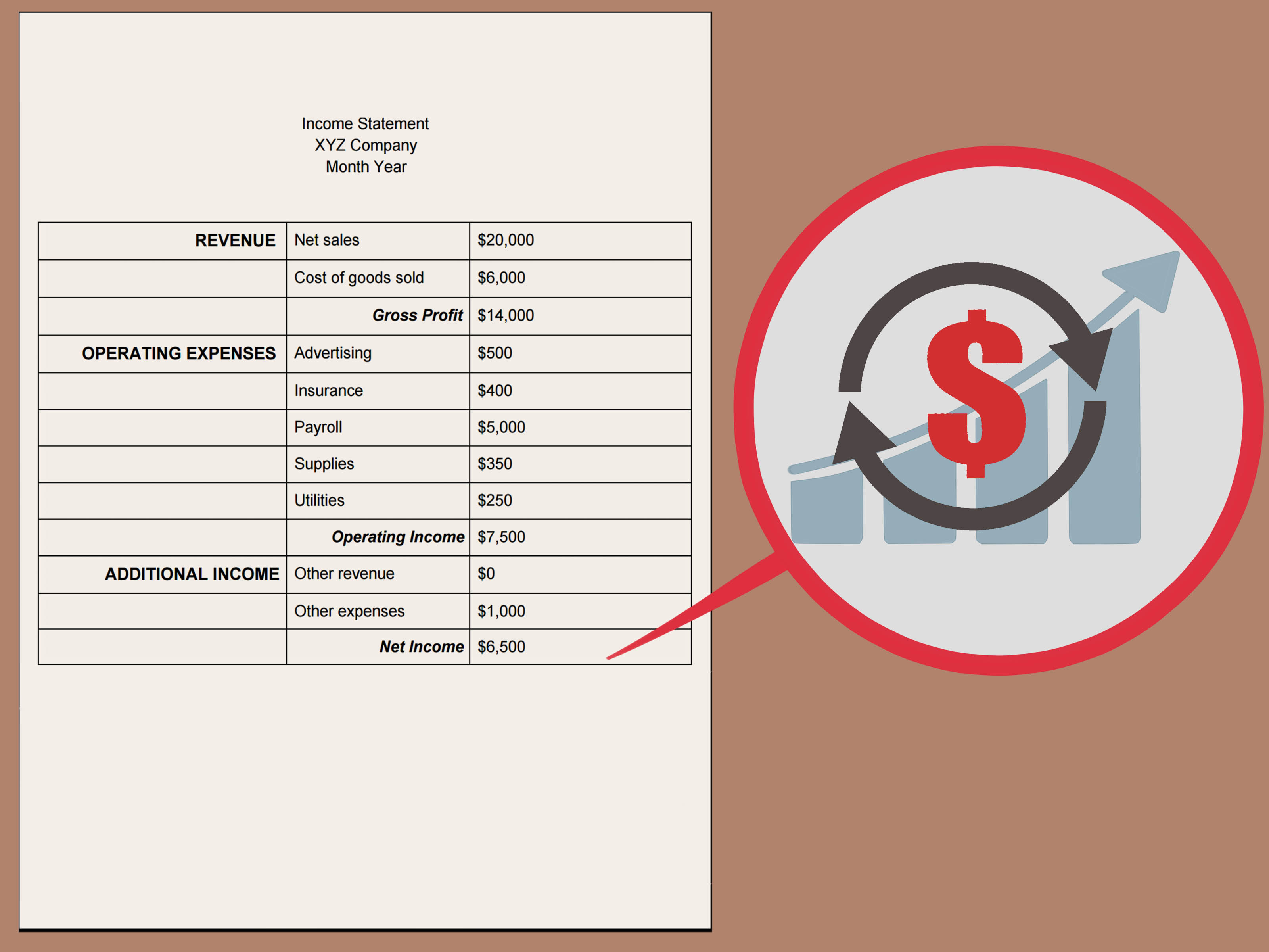 how to create income statement