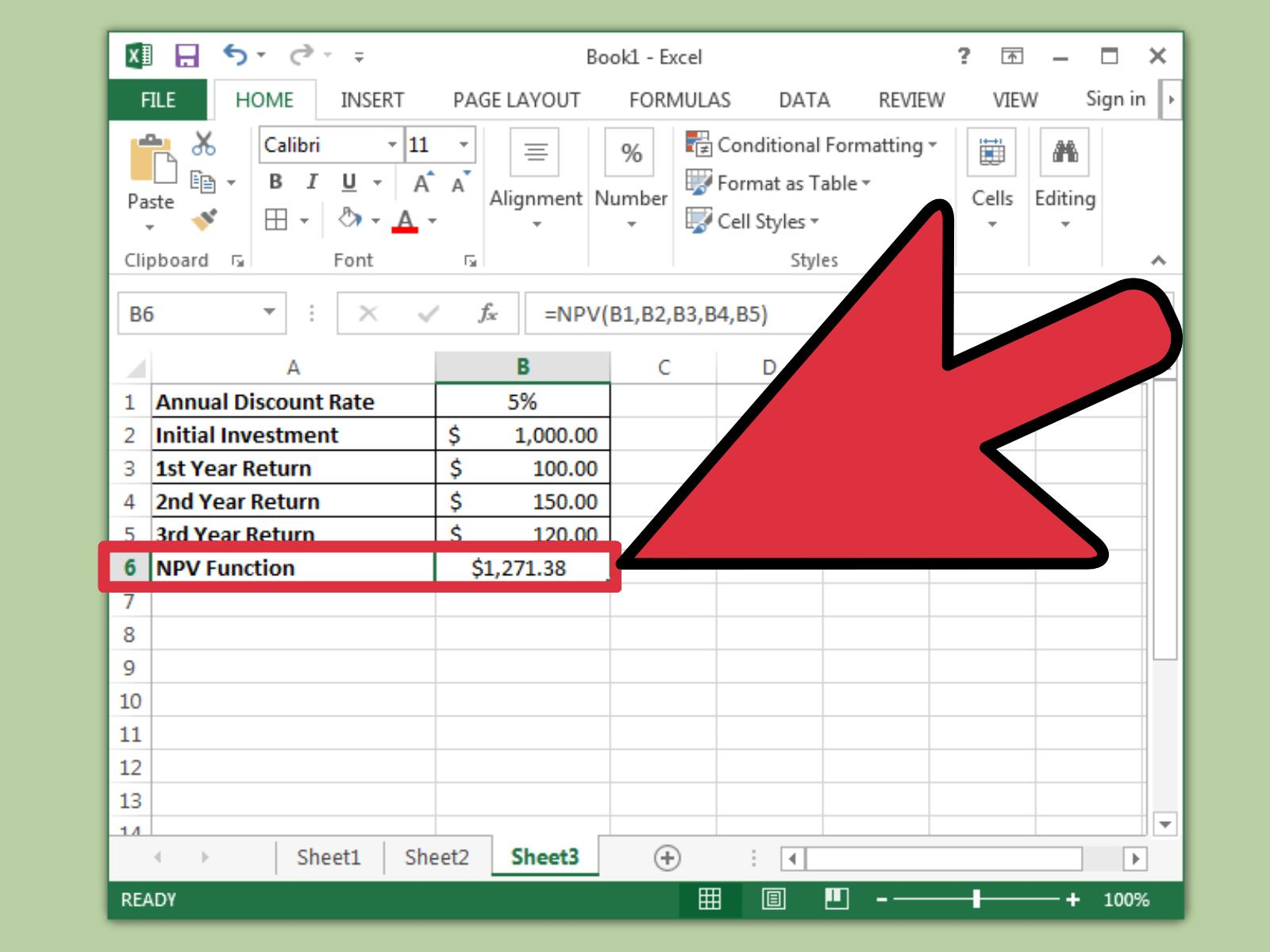 calculate npv in excel