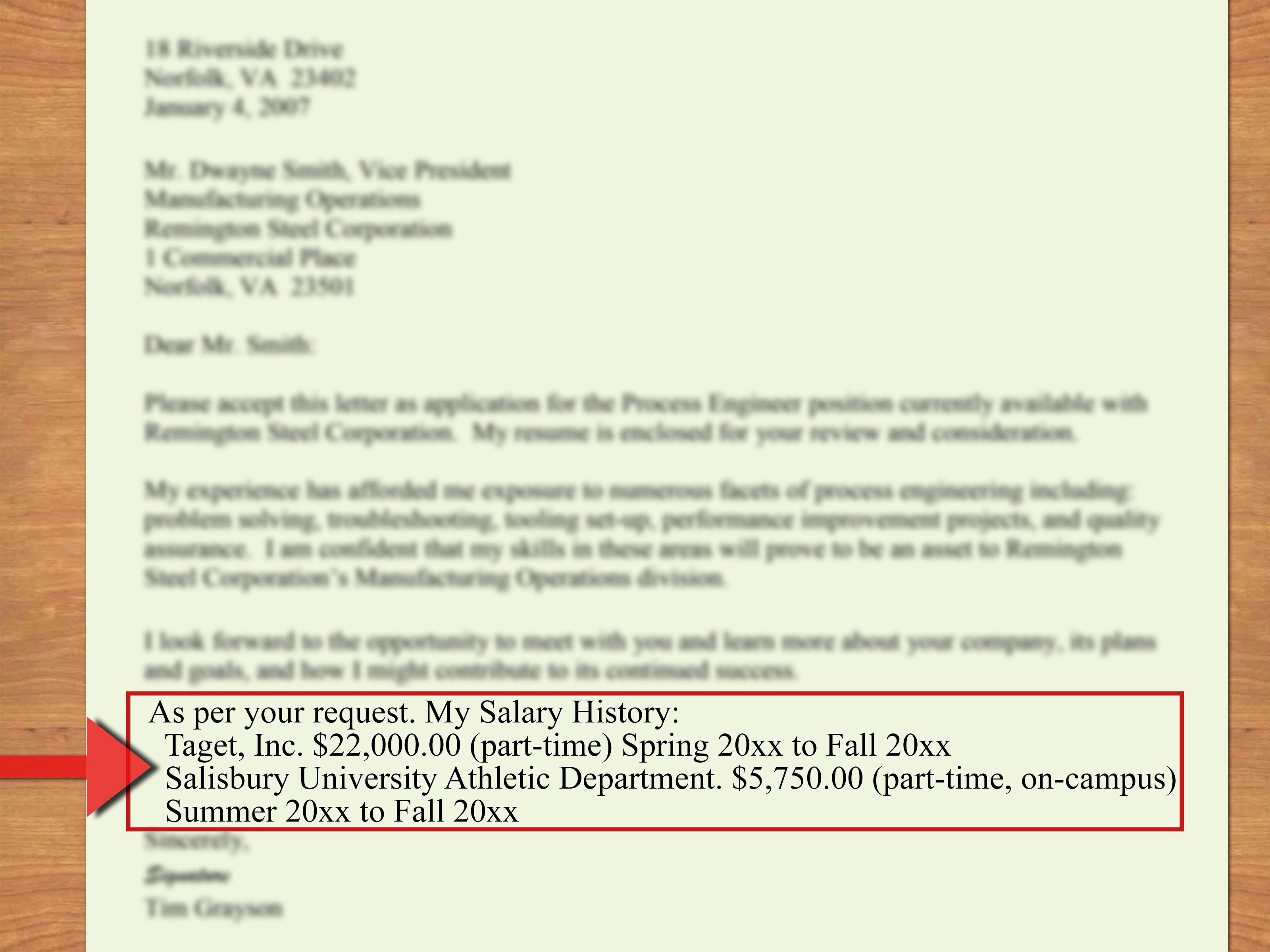salary history on resume example