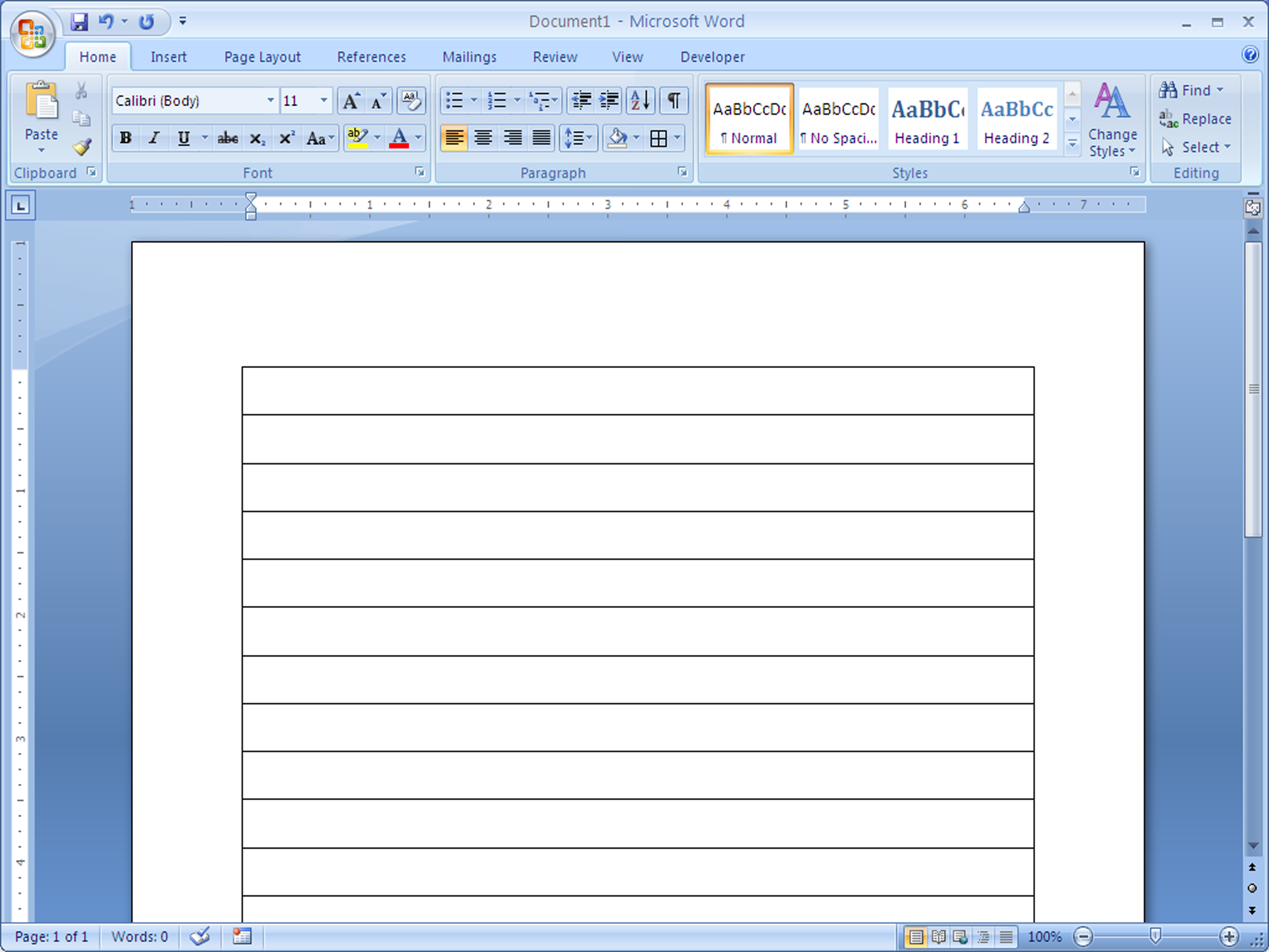 lined paper in word