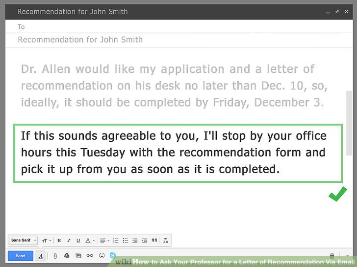 how to ask for recommendation letter via email