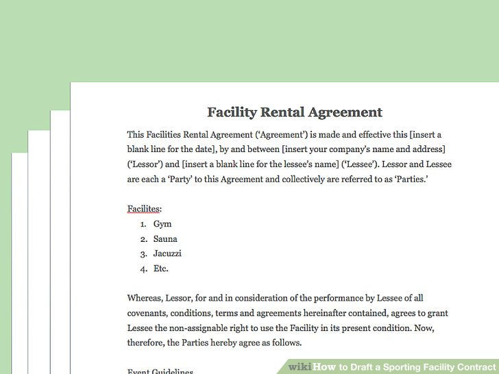 How to Draft a Sporting Facility Contract (with Pictures) - professional athlete contract template