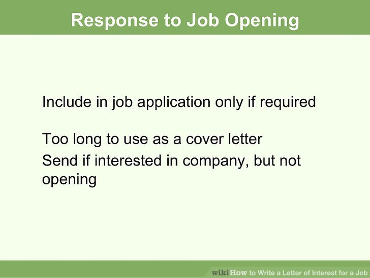 How to Write a Job Interest Letter (with Sample Letters) - cover letter when applying for a job