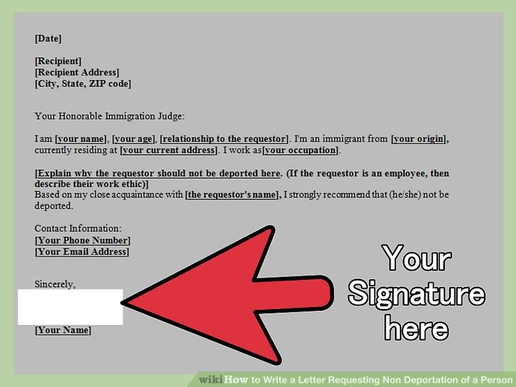 How to Write a Letter Requesting Non Deportation of a Person - country of origin letter