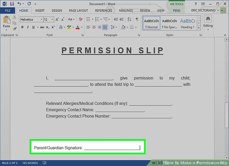 How to Make a Permission Slip 11 Steps (with Pictures) - wikiHow