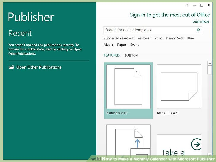 How to Make a Monthly Calendar with Microsoft Publisher 14 Steps - monthly calendar blank