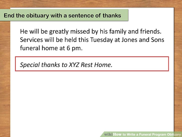 How to Write a Funeral Program Obituary (with Pictures) - wikiHow - program for a funeral