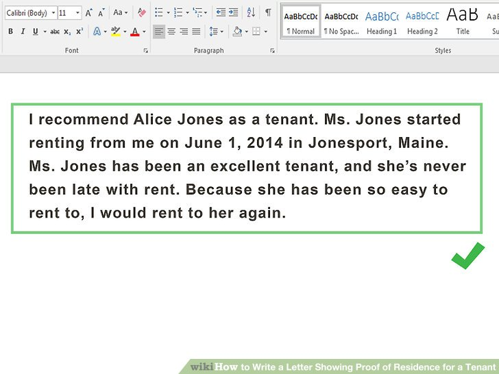 How to Write a Letter Showing Proof of Residence for a Tenant (with - proof of rent letter from landlord sample