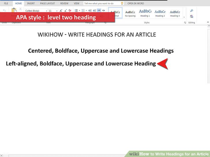 4 Ways to Write Headings for an Article - wikiHow - asa style headings