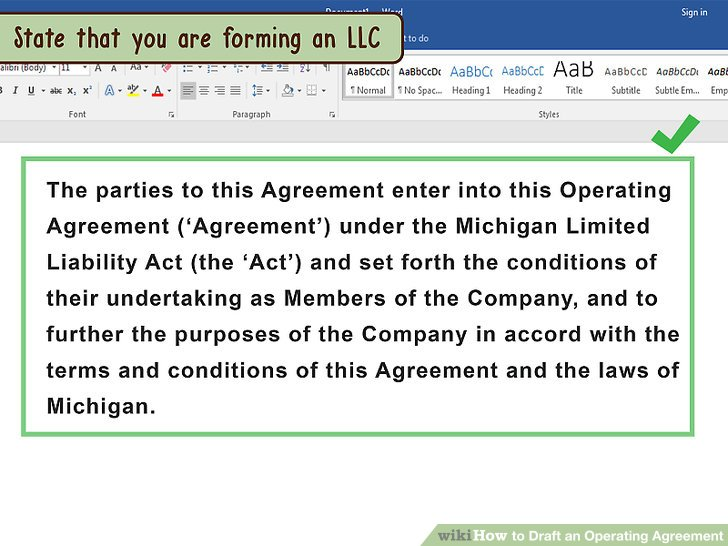 How to Draft an Operating Agreement (with Pictures) - wikiHow