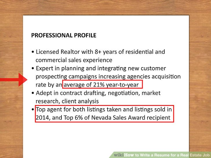 real estate agent resume bullet points