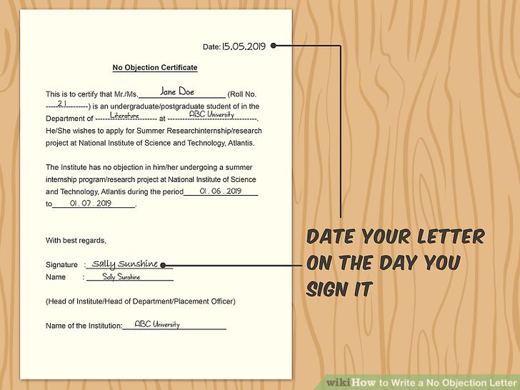 How to Write a No Objection Letter 11 Steps (with Pictures)