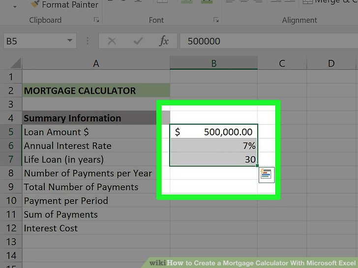 3 Ways to Create a Mortgage Calculator With Microsoft Excel - mortgage payment calculator template