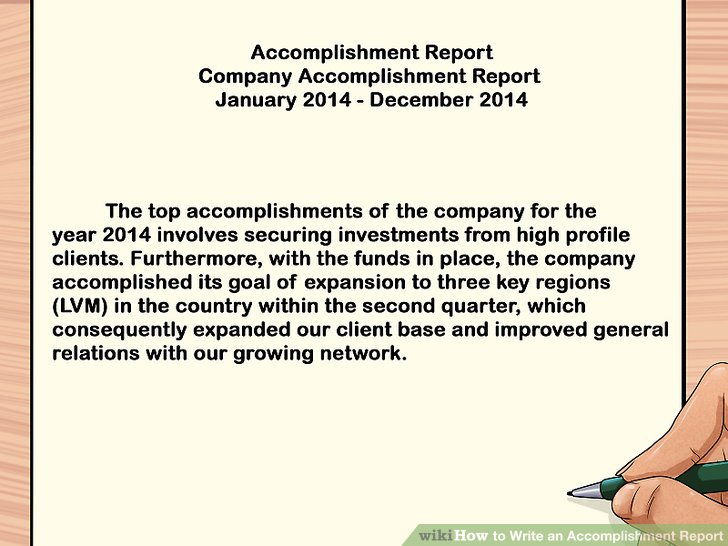 accomplishments report template monthly