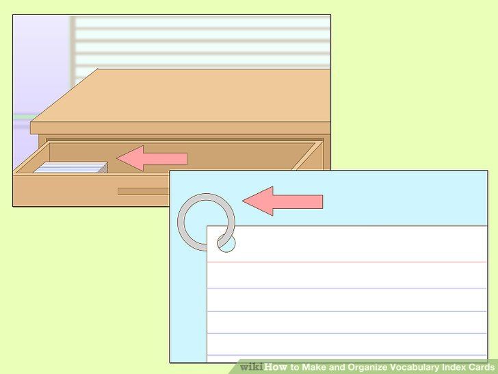 3 Ways to Make and Organize Vocabulary Index Cards - wikiHow - vocab cards