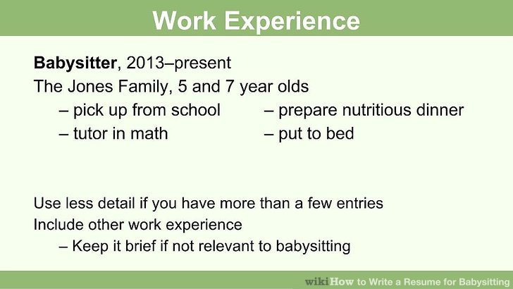 How to Write a Resume for Babysitting (with Pictures) - wikiHow - Babysitting On A Resume